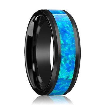 Black Ceramic Ring - Blue & Green Opal Inlay  - Ceramic Wedding Band - Beveled - Polished Finish - 4mm - 6mm - 8mm - 10mm - Ceramic Opal