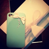iPhone 5 Tiffany & Co. Inspired Designer Swarovski Crystal with White Bow Bling Case