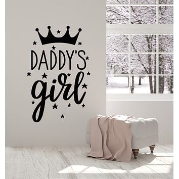Vinyl Wall Decal Crown Daddy's Girl Quote Nursery Little Princess Stickers Mural (g639)