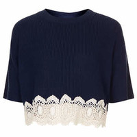 PETITE KNITTED LACE HEM CROP JUMPER