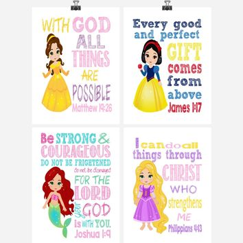 Princess Set of 4 - Christian Nursery Decor Wall Art Print - Belle, Snow White, Ariel Rapunzel - Bible Verse - Multiple Sizes