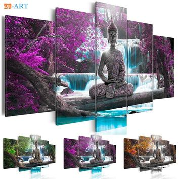 Buddha Statue Art Prints Waterfull Poster Canvas Art 5 Pieces Modular Pictures Modern Nature Wall Art Living Room Home Decor