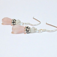 Rose Quartz & Moonstone Sterling Silver Dangle Earrings