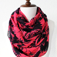 Floral Print Infinity Scarf - Loop Scarf - Circle Scarf - Cowl Scarf - Soft and Lightweight