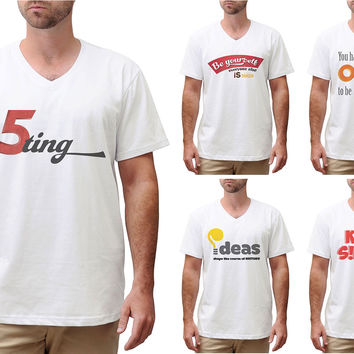 Retro Positive Quote Printed Cotton Short Sleeves V-neck Men T-shirt MTS_02