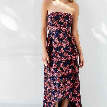 Glamorous Strapless Jacquard High/Low Maxi Dress