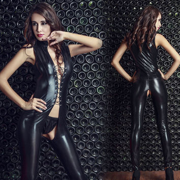 High-Quality Sex Hot Sexy Imitation Leather Strap Leotard Erotic Women For Sexual Erotic Lingerie Ultimate Temptation Sleepwear
