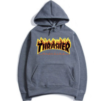 """THRASHER"" Fashion print flame movement  hooded sweater Dark grey black flame (5 color)"