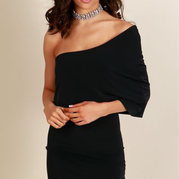 Feeling Fab One Shoulder Dress Black