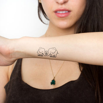 New Double Elephant Love Temporary Tattoo