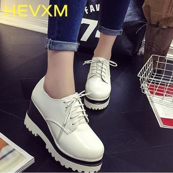 HEVXM 2017 New Listing Women Platform Heel Shoes Vintage Style Shoes Woman Casual Lace-Up Women Fashion Heel Shoes Size 35-39