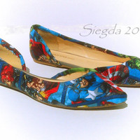 Marvel II-Womens flats-Hulk-Comic book-Hawkeye-Captain America-Thor-Iron Man-Spiderman-Black Widow-gift for her-geek wedding-comic book-