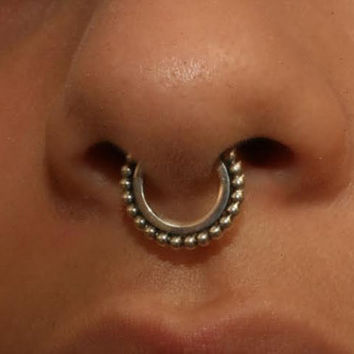 Septum ring  / Nose Ring  925 Sterling Silver  Neptune Hoop 16 gauge 10mm helix, tragus handcrafted piercing jewelry affordable unisex gift