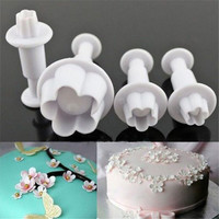 4pcs Plunger Cutter Fondant Cake Decoration Supplies Cookie Biscuit Mold Stamps Craft DIY Decorating Tools Set