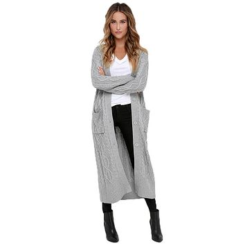 Chicloth Grey Cable Knit Long Cardigan