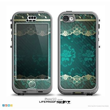 The Yellow Elegant Lace on Green Skin for the iPhone 5c nüüd LifeProof Case