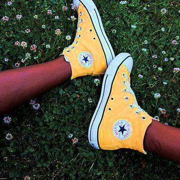 Converse Fashion Canvas Flats Sneakers Sport Shoes Women Men Yellow