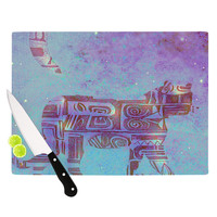 """Marianna Tankelevich """"Panther at Night"""" Purple Blue Cutting Board"""