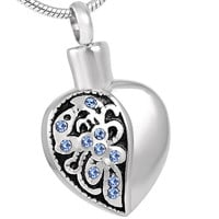 "Cremation ""Half Empty Heart"" Pendant Urn Necklace"