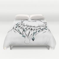 Poetic Bear Duvet Cover by LouJah