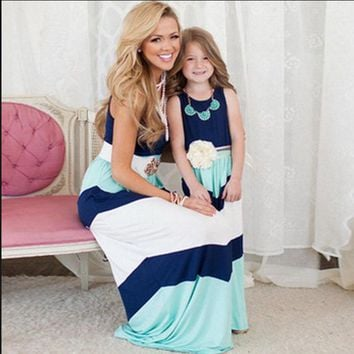 CREYL 2016 family matching mother daughter dresses clothes striped mom and daughter dress kids parent child outfits