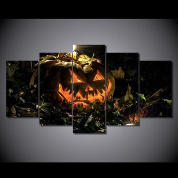 print on canvas candle SPOOKY halloween pumpkin at night- BOO!