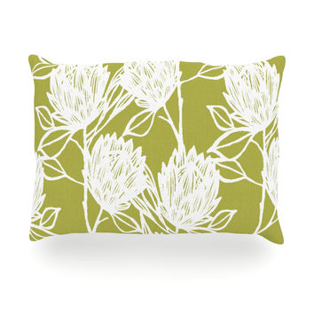 "Gill Eggleston ""Protea Olive White"" Green Flowers Oblong Pillow"