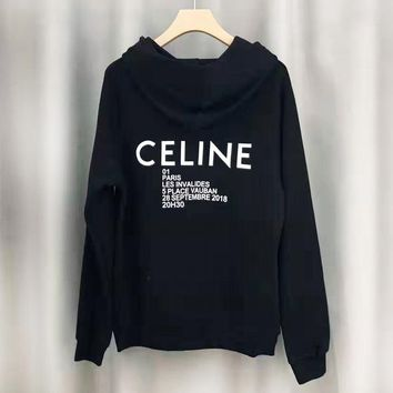 CELINE New fashion letter print couple high quality hooded long sleeve sweater Black