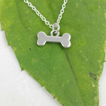 Dainty Tiny Dog Bone Necklace, Dog Necklace, Silver Dog Bone Charm, Animal Lover Necklace, Personalized , pet necklace, pet remembrance