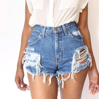 Destroyed Ripped Distress  Daisy Dukes Custom Made by ShopAudella