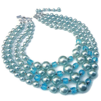 Vintage 4 Strand Graduated Frosted Pastel Blue Faux Pearls and  Aqua Marine Blue Faceted Crystal  Japan Necklace