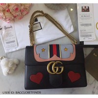Gucci Marmont Heart Web Medium Shoulder Bag (HARD TO FIND STYLE)