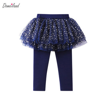 2017 new fashion Autumn baby girl clothing cute kids print lemon lace cotton tutu layer skirt legging clothes