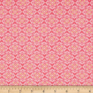 VIP Small Fancy Floral Hot Pink and Yellow Cotton Fabric, 1 Yard, More Yardage Available