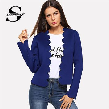 Sheinside Blue Scallop Trim Bolero Long Sleeve Blazer Women Jacket 2018 Fall Ladies Workwear Elegant Womens Blazers And Jackets