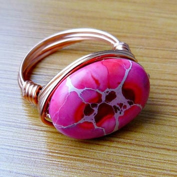 Hot Pink Aqua Terra Jasper Wire Wrapped Ring