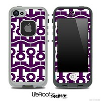 White and Purple Anchor Collage Skin for the iPhone 5 or 4/4s LifeProof Case