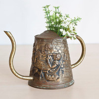 Rustic English Aged Brass Small Watering Can, Repousse Tavern Scene, Made in England
