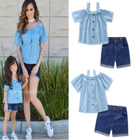 Mommy and Me Family Matching Outfits 2pcs T Shirts +denim Jeans Shorts
