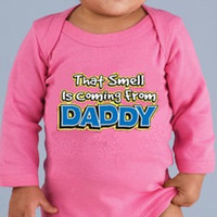 DADDY IS SMELLY  Baby Creeper. Funny Graphic Creeper For Baby Boy or Girl