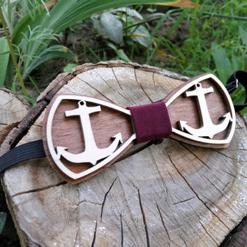 Free Shipping! Anchor Bow Tie Wooden Bow Tie Wood Bow Tie Boys Bowtie Wood Bowtie Wooden Bowtie Mens Bow Tie. 100% Hand Made - Mens Gift