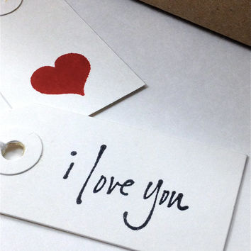 I Love You Gift Tags - Black Simple Script on Small White Card Stock - Handmade - Set of 10