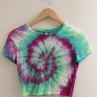 ONE OF A KIND Dark and Pastel Tie Dye Swirl Crop Top