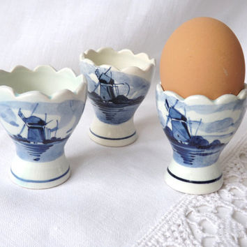 Delft Blue / Dutch Delft / Delft Egg Cups / Hand Painted Delft Holland / Delft Pottery / Windmills Holland / Breakfast Table / Etsy UK