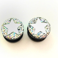 Silver star plugs / 0g, 00g, 1/2, 9/16, 5/8 / silver glitter gauges / star jewelry / sparkle plugs / star gauges / iridescent jewelry