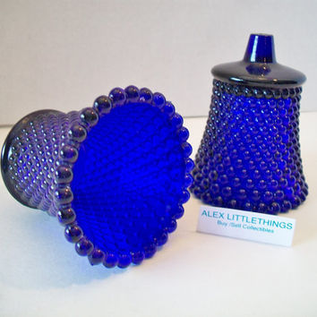 Vintage Cobalt Blue Glass Votive Cup Hobnail Candle Holder Set of Two
