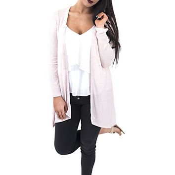 Women's Brushed Fleece Long Cardigan with Open Front