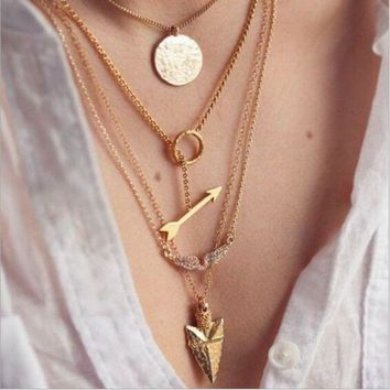 ONETOW Fashion angel wings arrow fish scales hanging tablets multi-layer exaggerated metal necklace