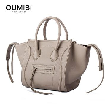 OUMISI Women Classic Luxury PU Leather Smiling Face Bag Chamois Handbags Bat Wings Lady Smiley Tote Phantom Famous Purse LH