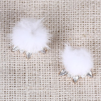 Pom Pom Gems Clip On Earings